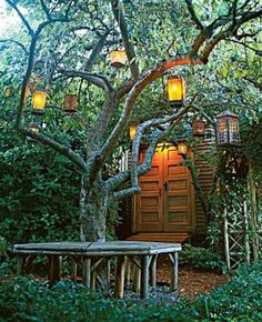 love these lanterns in the tree- a secret garden type feel Dream Garden, Home And Garden, Outdoor Spaces, Outdoor Living, Landscape Design, Garden Design, Garden Lanterns, Tree Lanterns, Hanging Lanterns