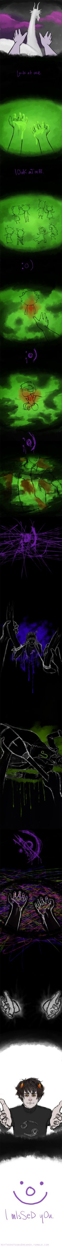 'I missed you.' wow. now i really can't hate Gamzee. so sad!!  Tags: Anime, Homestuck, Gamzee Makara, Karkat Vantas, Lusus, friends, moirails