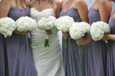 Love how these look with the purple! White Hydrangeas, Bridesmaid Dresses, Wedding Dresses, Bouquet, Weddings, Purple, Collection, Fashion, Bridesmade Dresses