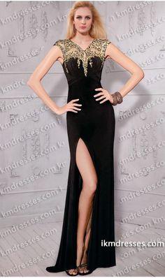 striking+hand+beaded+illusion+v-neck+keyhole+side+slit+Slim+fit+gown+Black+Dresses