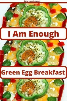 Green Egg Breakfast is I am enough to start your day. The ingredients are simple, recipe super easy. Enjoy and share breakfast with eggs, green peppers and more.