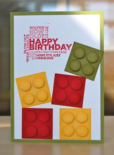 handmade birthday card ... like the sentiment block of words ... punch art square lego-look blocks ... great design for a boy ...