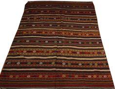 handwoven rug nomadic flatweave rug turkish anatolian by POCCARugs