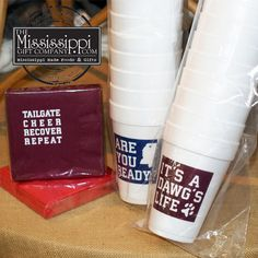 Football is right around the corner! Tailgate in style with these fun and festive foam cups & napkins! www.TheMississippiGiftCompany.com/college-items-from-mississippi-universities.aspx