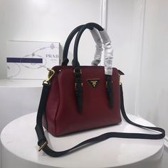 cb7d326725 2018 New Prada Bi-color grainy leather bag burgundy black