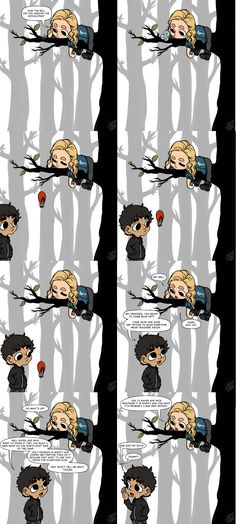 First installment of: Clarke Griffin Leads Her People From A Tree! || The 100 fanart || tumblr - missmert || Bellamy Blake and Clarke Griffin || Bellarke