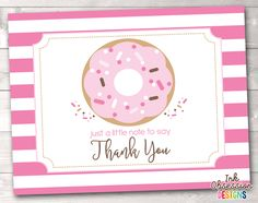 Sprinkle Pink Donut Printable Thank You Cards – Erin Bradley/Ink Obsession Designs
