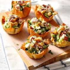 Everything tastes better in miniature form! These caesar salad cups are made using wontons wrappers.