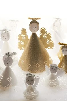 Angels made from Martha Stewart Crafts Circle punch and Paper Source paper