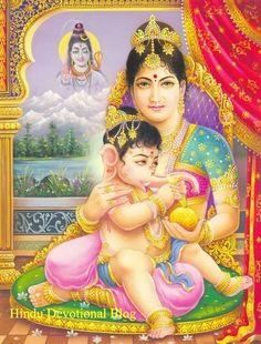 Goddess Parvati | goddess parvati giving food to baby ganesha picture