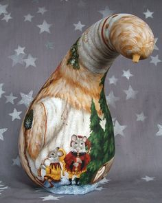 pictures of gourds painted reindeer   Christmas, Santa Claus gourd, hand painted art, elves and reindeer ..