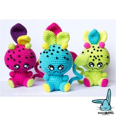 3 Leaf Monsters from the Magic Forest amigurumi por BlueRabbitLV