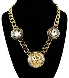 Gold Lion w/ Crystals Necklace