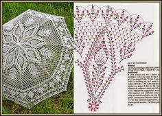 Crochet white umbrella ♥LCU-MRS♥ with diagram.