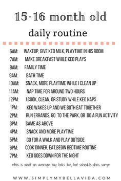 15 16 Month Old Daily Routine Simply My Bella Vida Toddler Routine Baby Routine Daily Toddler Schedule