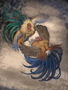 Rooster tattoo on inner thigh Rooster Painting, Rooster Art, Feather Painting, Rooster Images, Chicken Painting, Chicken Art, 3d Art Museum, Cartoon Rooster, Rooster Tattoo