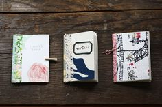 Little notebooks using wallpaper samples (free from www.anthropologie.com).