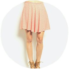 Peachy Polka Dot Circle Skirt Brand new and ready for spring! - fully lined - 100% polyester blend - cute black polka dots - side zipper  ***SMALL, MEDIUM OR LARGE*** Charlotte Russe Skirts Circle & Skater