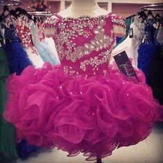Infants-Cupcake-Flower-Girls-Dresses-Crystals-Short-Little-Girl-039-s-Beauty-Pageant