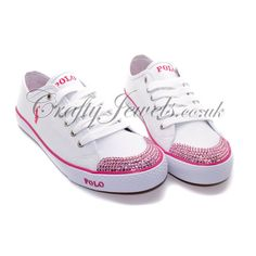 Crystal Ralph Lauren Polo White Pink.http://www.craftyjewels.co.uk/crystal-ralph-lauren-polo-whitepink-8123-p.asp #ralphlauren #swarovski #polo #pink #shoes #trainers #crystal #style #fashion #crystalshoes #crystaltrainers #girl