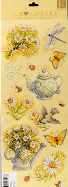 K & Company Tim Coffey Daisy Images Embossed Sickers