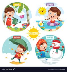 Vector Illustration Of Seasons Preschool Curriculum, Preschool Math, Classroom Board, Classroom Labels, English Games, School Tool, Free To Use Images, Toddler Learning Activities, Baby Shower Cards