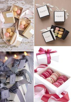 Macarons http://www.rosesandlace.co.uk/stylish-ideas-for-wedding-favours/