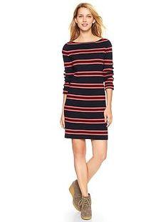 Striped rib-knit dress with boatneck collar. SHARP.