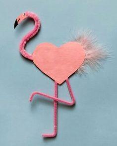 flamingo - Preschool Crafts for Kids*: 21 Fun Valentine's Day Animal Crafts for Kids Kids Crafts, Animal Crafts For Kids, Valentine Crafts For Kids, Valentines Day Hearts, Preschool Crafts, Holiday Crafts, Art For Kids, Valentine Cards, Valentine Ideas