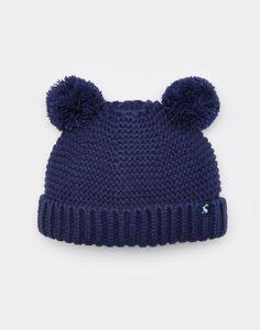 Pom French Navy Knitted Pom Pom Hat | Joules UK