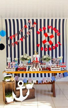 20 coolest Patriotic Day Table decor ideas for your July Party 2020 - Hike n Dip Navy Baby Showers, Anchor Baby Showers, Sailor Party, Sailor Theme, Baby Party, Baby Shower Parties, Baby Shower Themes, Fiesta Baby Shower, Baby Boy Shower
