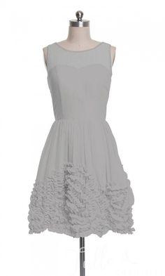 Delicate Short Illusion Neckline Floral Bridesmaid Dresses TBQP264 click for 40+ colors
