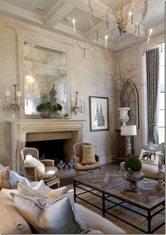 Aidan gray  Family living room, classic, box ceiling, light palette, fabulous stone fireplace mantel