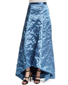 Crinkled High-Low Full Skirt, Blue Bell, Size: 10 - Nicole Miller
