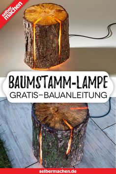 Lamp made of log and epoxy resin: free instructions! Diy Table, Pictures To Paint, Diy Paper, Diy And Crafts, Polymer Clay, Diys, Woodworking, Backyard, Home Decor