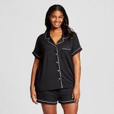 Women's Plus Size Sleepwear Textured Knit Pajama Set Black                                                                                                                                                                                 More