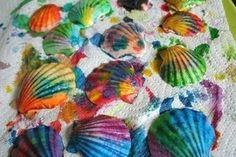 Painted Seashells, I am going to try this with some shells I brought back from the beach today :)