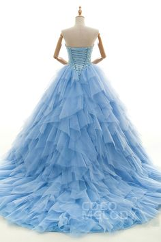 Graceful A-Line Sweetheart Natural Chapel Train Tulle and Lace Swedish Blue Sleeveless Lace Up-Corset Wedding Dress with Appliques and Beading H2dbkt3310#Cocomelody#weddingdresses#bridalgown#