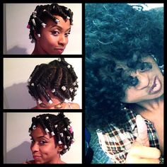 Flat twists with perm rods, nice results. My favorite hair style.... ab