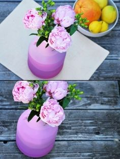 "DIY Colored VASE - paint vase one color and layers to create the ""stripes"" Diy Home Crafts, Diy Home Decor, Colored Vases, Love Garden, Diy Interior, Vases Decor, Diy Design, Craft Projects, Stencil"