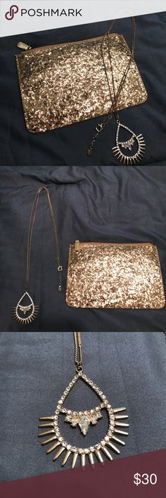 Golden Goddess Duo! Shimmering Gold | Ultra thin H&M clutch | very long, spiked Tear Drop 💧 pendant necklace ! All diamonds and sequins in tact:) bundled together for a night out as a golden goddess. ✨🌙🌞 perfect for adding some sexy sparkle to a black outfit! Clutch has never been used H&M Jewelry Necklaces