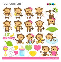 Baby Monkey Girl - Clipart and Digital paper set - Monkey clip art Monkey Girl, Girl Clipart, Clip Art, Photoshop Elements, Illustrations, Educational Activities, Project Yourself, Print And Cut, Party Supplies