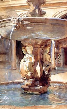 Spanish Fountain, Fitzwilliam Museum, Cambridge, UK by John Singer Sargent. Watercolor on paper, 1912.