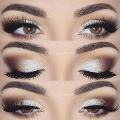 Coffee brown and white eye makeup. Glamorous wedding make up. Boho Bride make up. Wild bride make up Makeup Hacks, Makeup Goals, Makeup Inspo, Makeup Inspiration, Eye Makeup Tutorials, Makeup Geek, Prom Makeup Tutorial, Makeup Style, Brown Eye Makeup Tutorial
