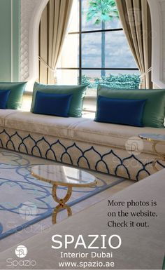 Wonderful modern arabic majlis interior design in Andalusian style in Dubai house. Home Room Design, Interior Design Living Room, Living Room Designs, Living Room Decor, House Design, Moroccan Home Decor, Moroccan Interiors, Moroccan Design, Islamic Decor