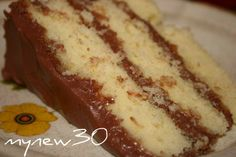 Basic 1-2-3-4 Yellow Birthday Cake with Chocolate Frosting