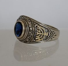 Unisex anel de prata de sinete com estrela de David do ouro, menorah de ouro e azul Zircon. Livre navio