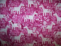 Unicorn Flannel Fabric,Snuggle,1 Yard,Pink,Ponies,Horses by susiesfabrics on Etsy