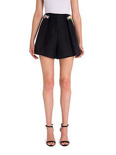 Emilio Pucci Cotton Shorts With Printed Scarf In Black Pleated Shorts, Cotton Shorts, Resort Style, Emilio Pucci, Cheer Skirts, Skater Skirt, Dress Up, Chic, Clothes