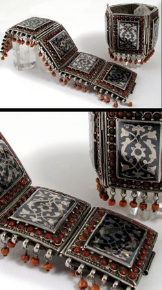 Central Asia | Pair of old silver, niello and  coral bracelets | Uzbek people | ca. 19th cnetury | Ann Porteus ~ Sidewalk Tribal Gallery